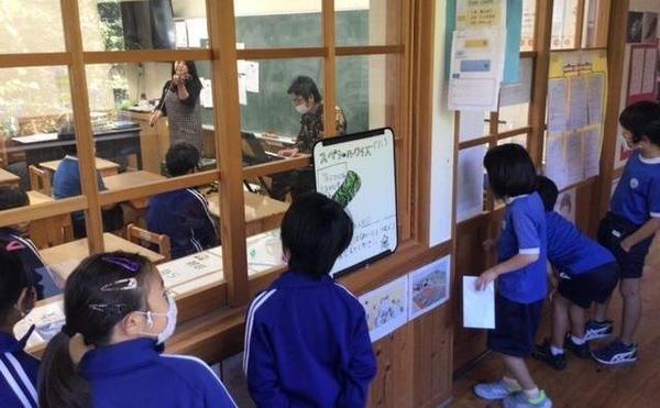 海士町の小学校にて。廊下からのぞき込む姿がかわいい